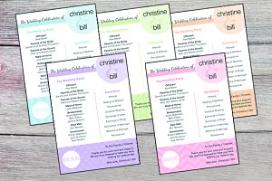 Wedding Program - set of 5 designs