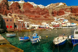 Port Amoudi of Oia or Ia, Santorini, Greece
