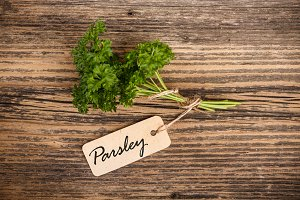 Parsley with label