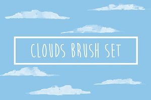 Watercolor Clouds Brush Set