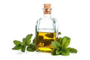 Oil with fresh mint