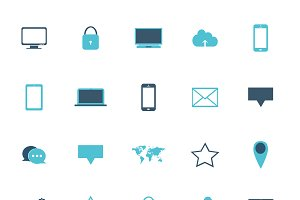 Icon set neon blue color