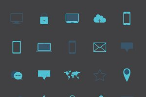 Flat icon set neon blue