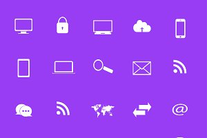 Flat icon set purple