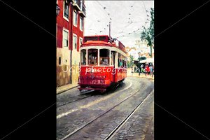 Oil painting, driving tramway