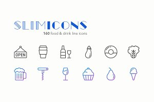 Food & Drink Line Icons - Slimicons