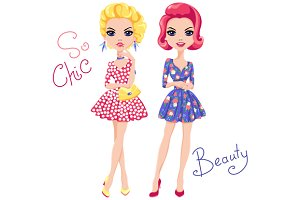 Pop Art cute fashion girls