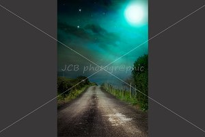 Countryside Road and full moon