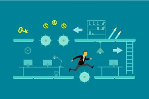 Game of business man jump obstacles