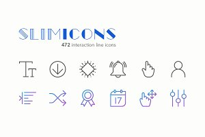Interaction Line Icons - Slimicons