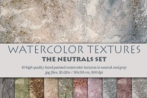 Watercolor textures - neutrals set