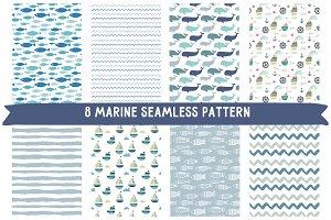 8 marine seamless pattern