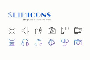 Photo & Sound Line Icons - Slimicons