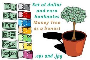 Set of dollar and euro banknotes