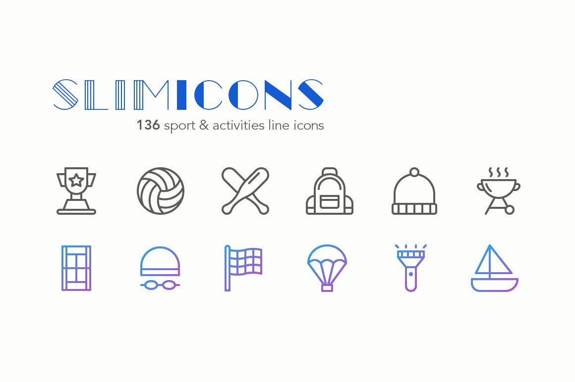 sport activities icons slimicons icons creative market. Black Bedroom Furniture Sets. Home Design Ideas