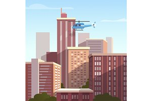 City landscape and helicopter
