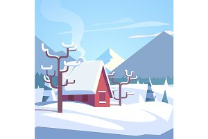 Winter mountains landscape and house