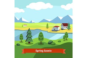 Spring rural farm riverside scenic