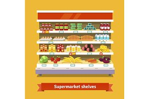 Supermarket interior shelf
