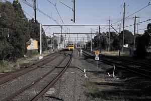 Yellow train on the way
