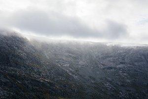 Giant Mountain Wall in Fog