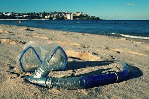 Snorkeling equipment on the beach
