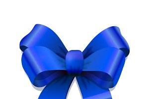 Bright blue bow-knot with shadow