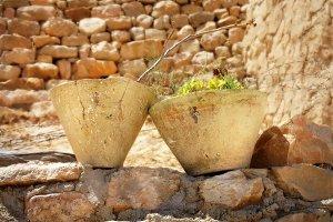 Berber pots in desert