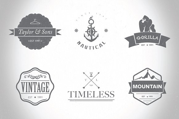 hipster logo badges templates vol 1 logo templates creative market