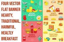 Four vector flat banner breakfast