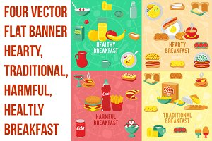 Four vector flat banner breakfast