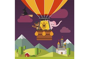 Сartoon animals on hot air balloon