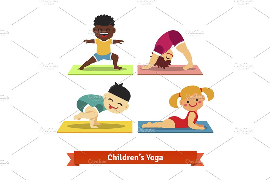 Kids doing yoga poses