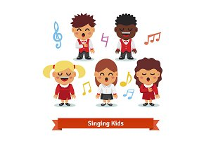Choir of kids singing