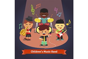 Kids music band playing and singing