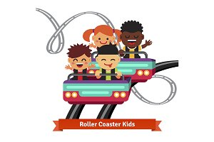 Group of kids riding roller coaster