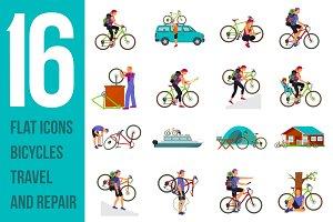 Bicycle travel. Vectof set flat icon