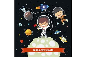 Astronaut kids on a space expedition