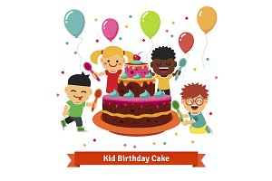 Celebrating kids with birthday cake