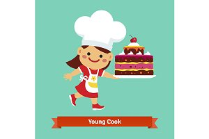 Girl cook in chefs hat