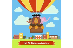 Animals flying on hot air balloon