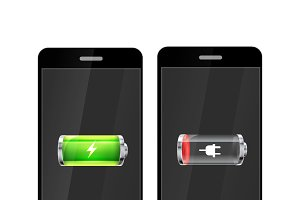 Smartphones with battery icons