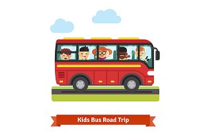 Kids travelling on the red bus