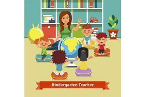 Kindergarden teacher with kids