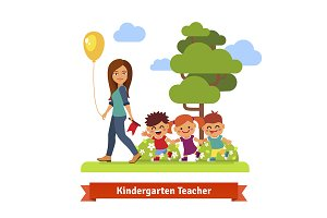 kindergarden teacher walks with kids