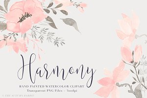 Watercolor Floral Clipart - Harmony