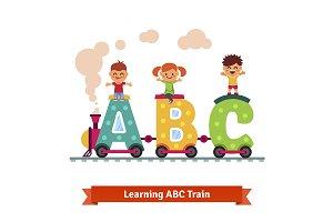 Kids riding on abc train