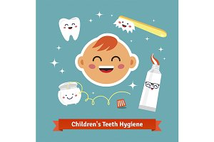 Children tooth hygiene icon set