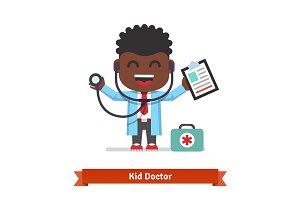 Smiling boy playing doctor