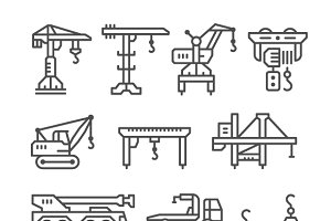 Set line icons of crane